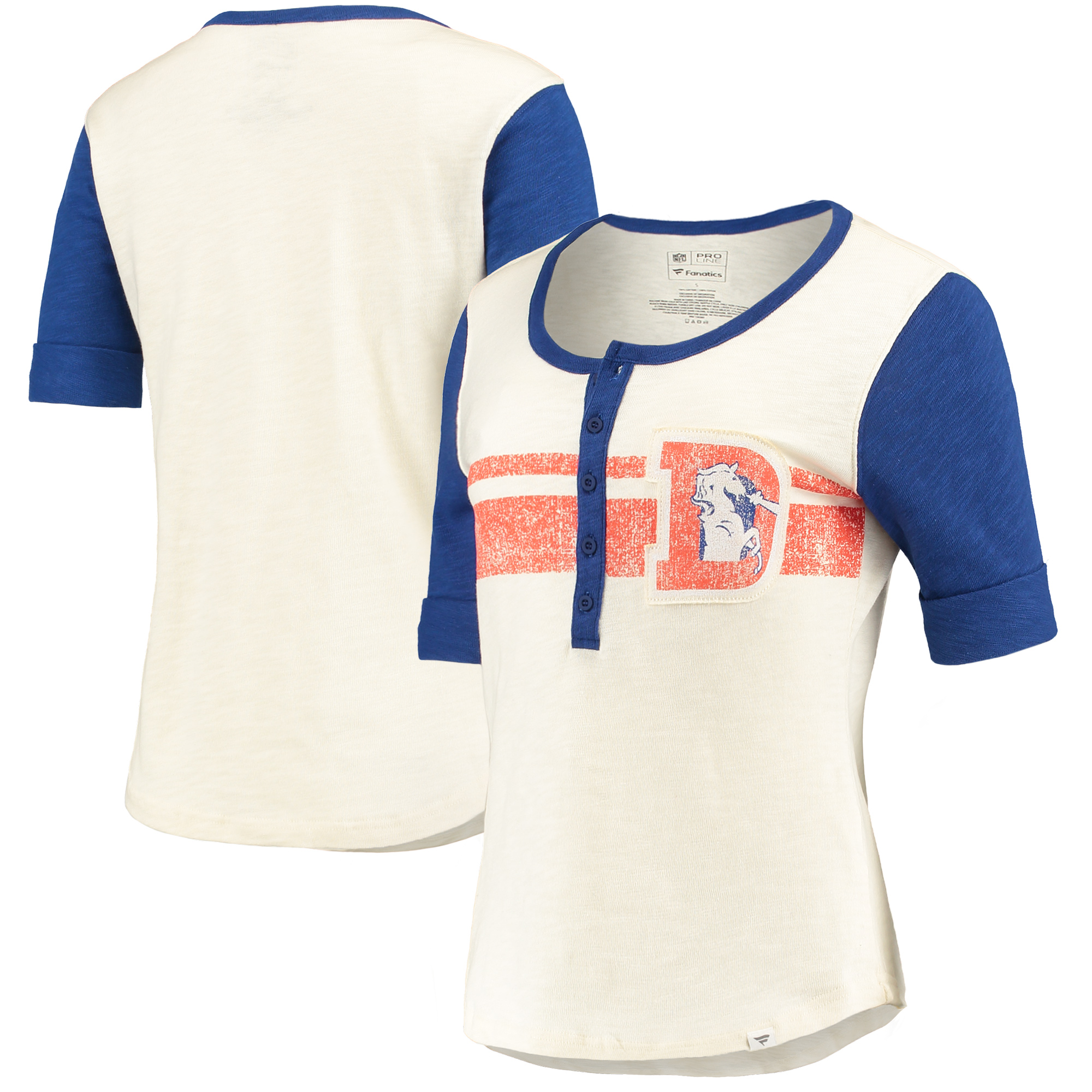 Denver Broncos Fanatics Branded Women's True Classics Drop Tail Henley T-Shirt - White/Royal