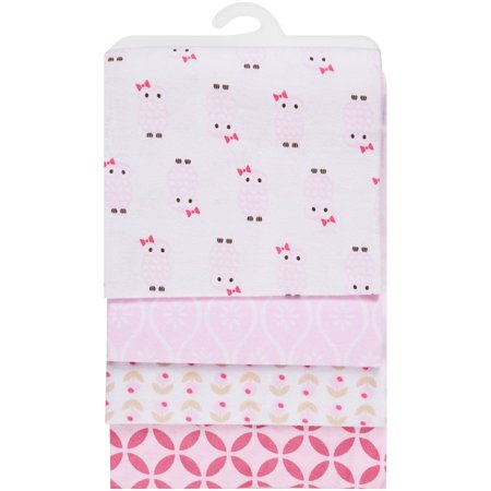 Hudson Baby Receiving Blankets Flannel 4-Pack - Pink Owl