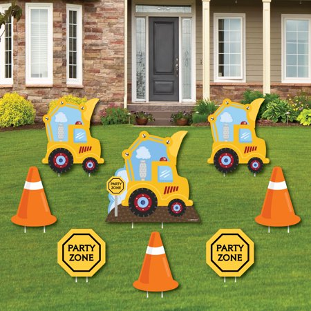 1st Birthday Yard Sign (Construction Truck - Yard Sign & Outdoor Lawn Decorations - Baby Shower or Birthday Party Yard Signs - Set of)
