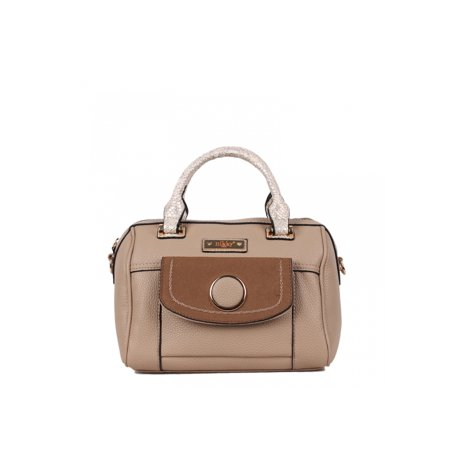 Multiple Compartment Beige Boston Style Handbag, Women Purse