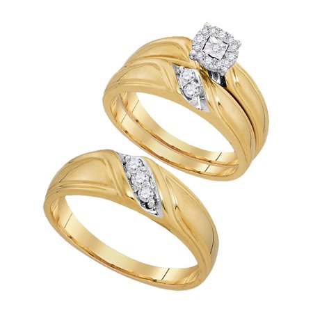 10kt Yellow Gold His & Hers Round Diamond Solitaire Matching Bridal Wedding Ring Band Set 1/4 Cttw - image 1 de 1