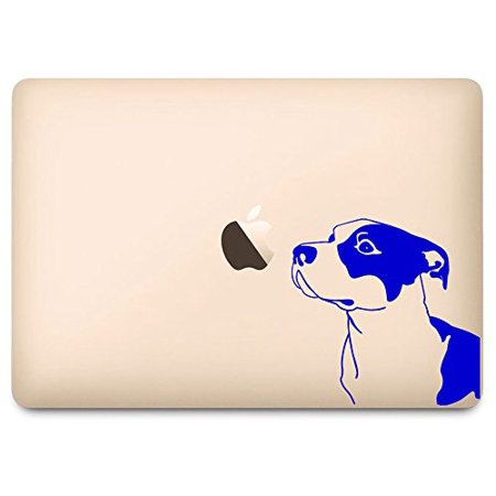 """Blue Pitbull Dog Breed Sniffing Apple Decal for 12"""" Macbook"""