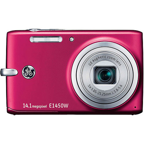 "GE E1450W 14.1MP Red Digital Camera w/ 5x Optical Zoom, 2.7"" LCD Display"