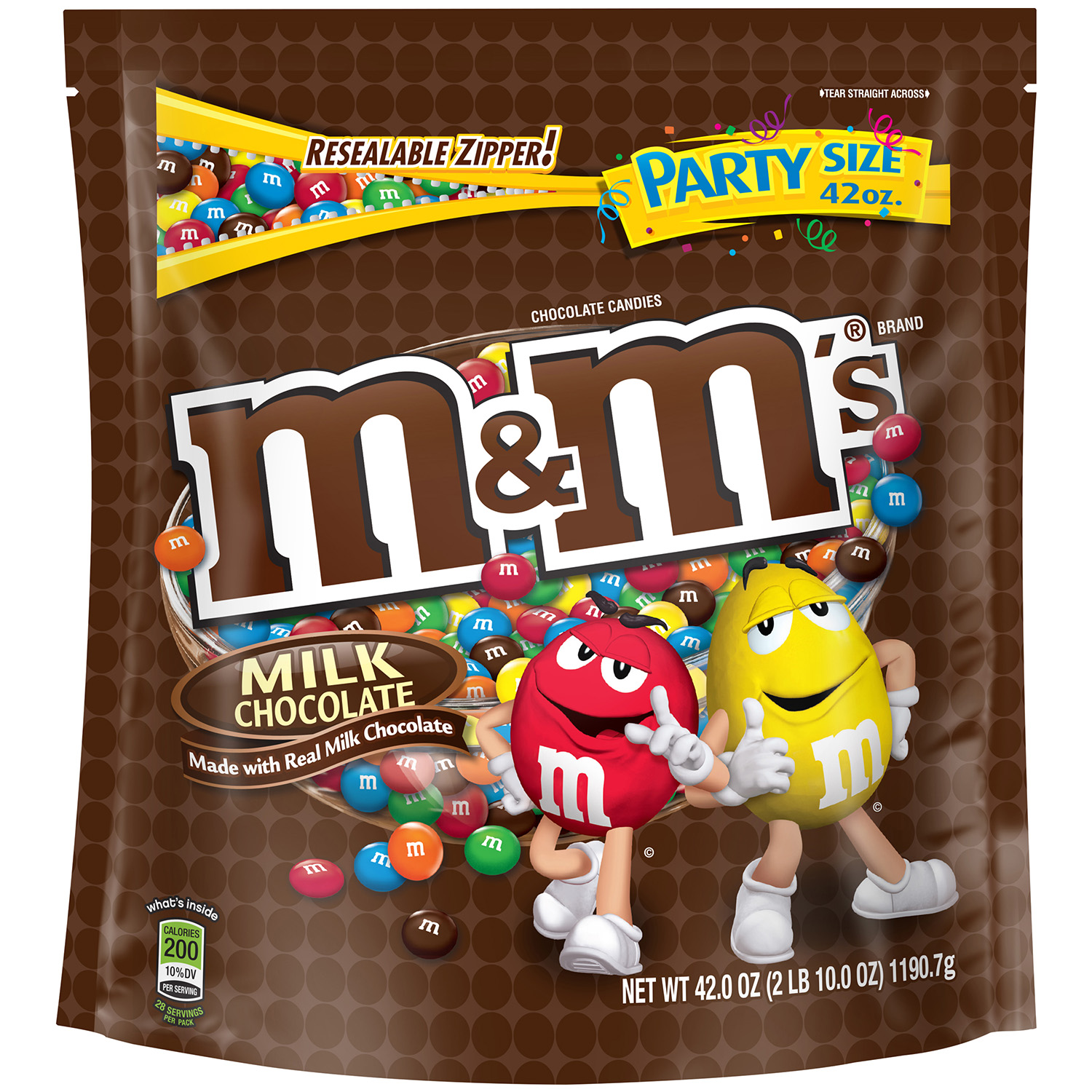 M&M'S Milk Chocolate Candy Party Size Bag, 42 oz