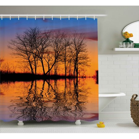 Nature Shower Curtain, Landscape from Mother Earth Sunset by the Lake with Fall Trees Forest Life Image, Fabric Bathroom Set with Hooks, Multicolor, by Ambesonne - Mom Shower