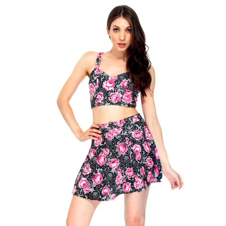 2f1741a46 Simplicity - Sassy Crop Top w/ Flared Skirt Set in Floral Pattern, M -  Walmart.com