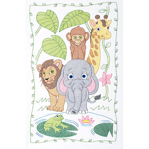 """Stamped White Quilt Crib Top, 40"""" x 60"""", Jungle"""