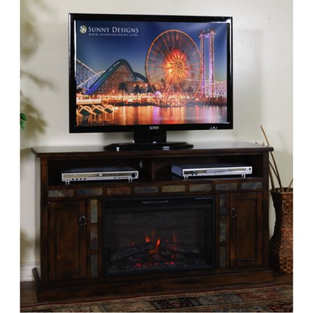 Sunny Designs Santa Fe Fireplace TV Console In Dark Chocolate – (66 Inch)