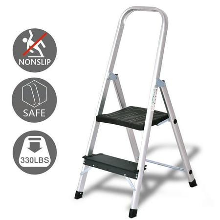 Aluminum Work Platform - Costway 2 Step Aluminum Ladder Folding Non-Slip Work Platform Stool 330Lbs Load Capacity