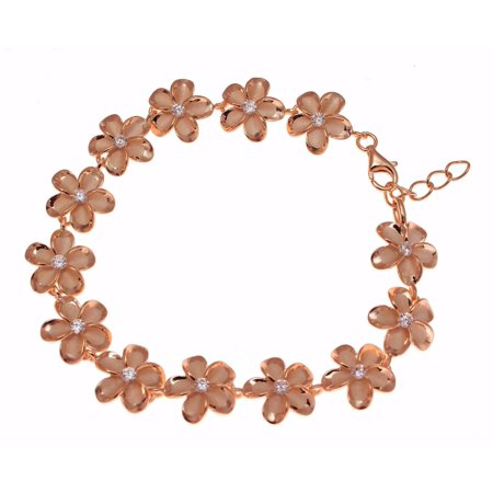 925 Sterling silver pink rose gold plated Hawaiian 15mm cz plumeria flower bracelet 7.5""