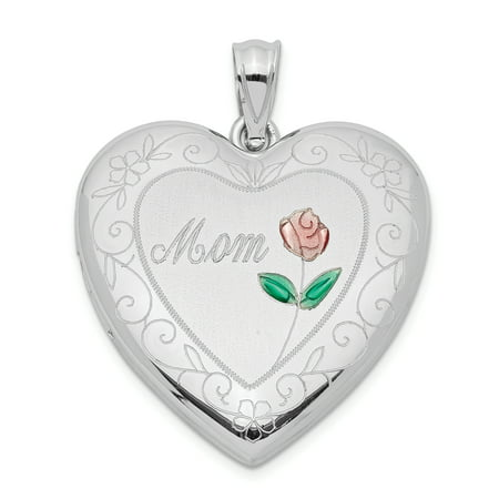 925 Sterling Silver 24mm Enameled Mom Heart Photo Pendant Charm Locket Chain Necklace That Holds Pictures Gifts For Women For Her