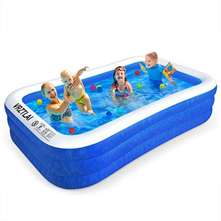 """VRZTLAI Family Inflatable Swimming Pool, 118"""" X 72"""" X 22"""" Inflatable Lounge Pool for Kiddie, Kids, Adults, Infant, Toddlers, Easy Set Swimming Pool for Garden, Backyard, Outdoor Summer Water Party"""