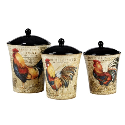 August Grove Gilded Rooster 3 Piece Kitchen Canister Set