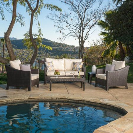 Christopher Knight Home Outdoor Antibes 5 Piece Wicker Chat Set With Cushions Brown With Beige