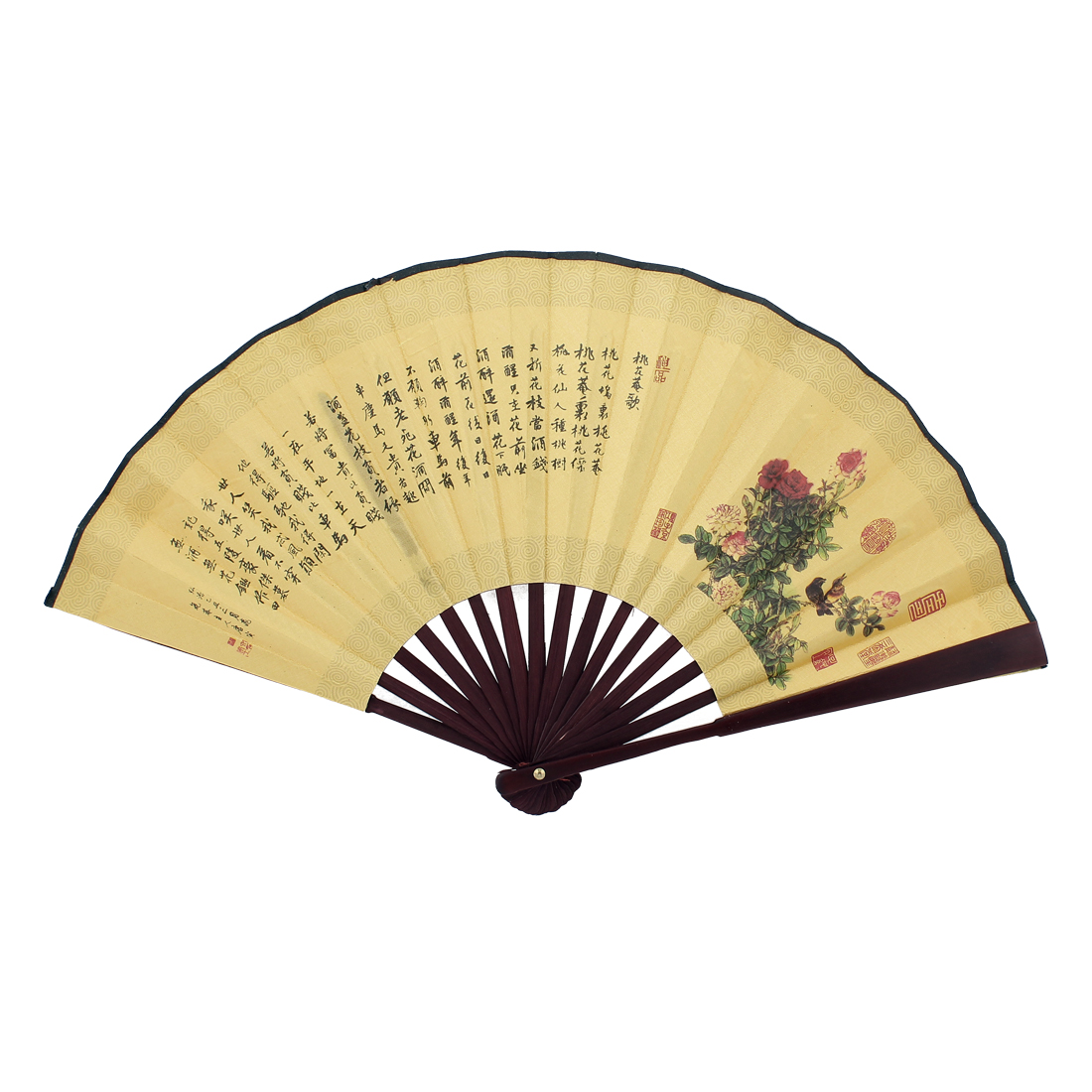 Beige Fabric Bamboo Riverside Scene at Qingming Festival Print Foldable Hand Fan