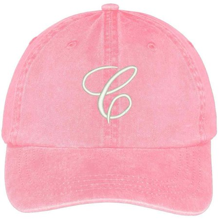 Trendy Apparel Shop Letter C Script Monogram Font Embroidered Washed Cotton Cap - Pink - Monogram Script Font