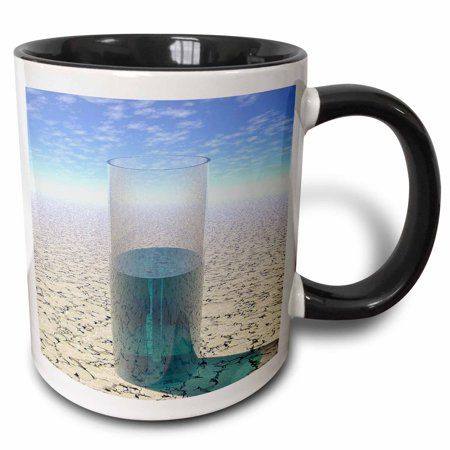 3dRose Glass of Water shows a half full glass of water on parched desert surface under sun - Two Tone Black Mug, (Desert Glasses Com)