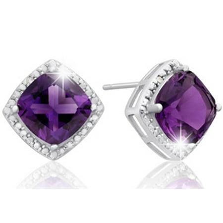 3 3/4 Carat Cushion Cut Amethyst and Diamond Earrings In Sterling