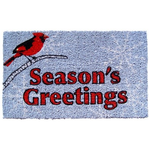 Holiday Cardinal Greetings Mid-Thickness Hand Woven Coir Doormat, 18 x 30 Inch