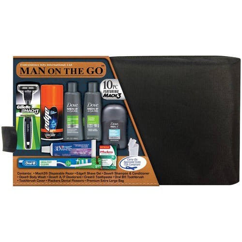 Convenience Kits International Original Men's Premium 10 Piece Travel Kit, TSA Compliant, in Reusable Black ZipperedToiletry Bag w/ Handle Featuring: Mach 3 Disposable Razor