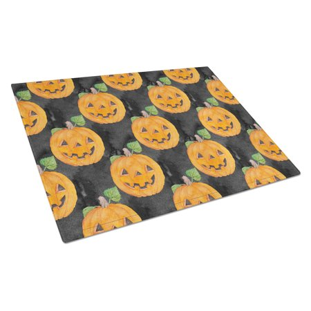 Caroline's Treasures Watecolor Halloween Jack-O-Lantern Glass Cutting Board Large - Halloween Svg Cutting Files
