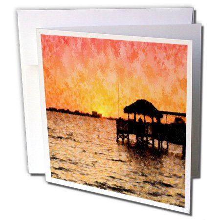 3dRose Image of Florida River Sunset With Tiki Hut Impression Style - Greeting Cards, 6 by 6-inches, set of 6 10 Tiki Hut
