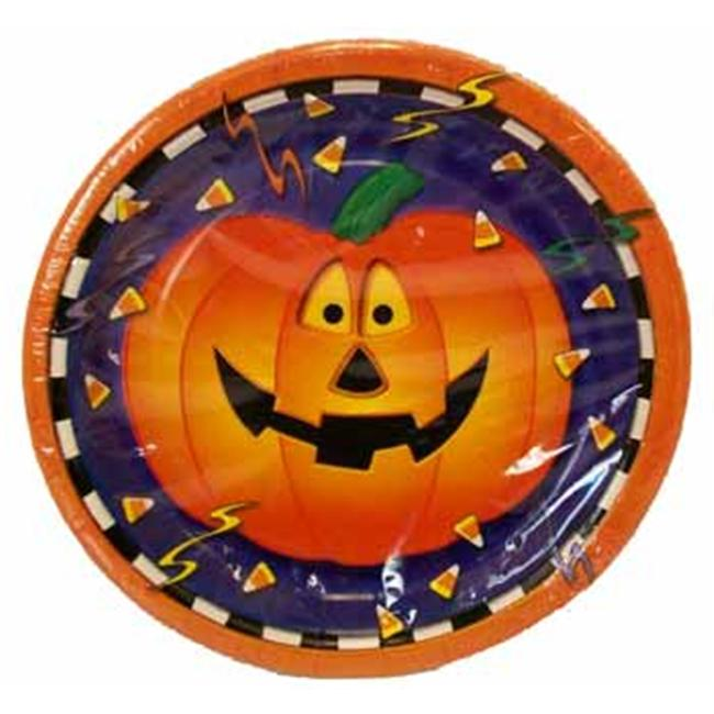 Bulk Savings 391782 8Ct.  Smiling Pumpkin 7   Plates- Case of 72