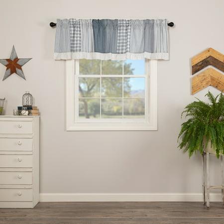 Denim Blue Farmhouse Kitchen Curtains Miller Farm Charcoal