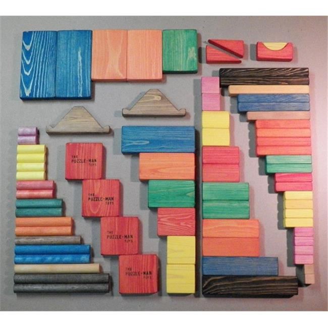 THE PUZZLE-MAN TOYS W-1005 Wooden Educational Building Blocks - Large Set of 75