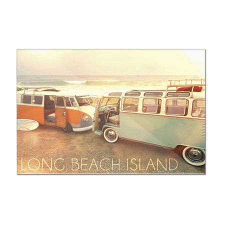 Long Beach Island, New Jersey - VW Vans on Beach - Lantern Press Photography (12x8 Acrylic Wall Art Gallery Quality)
