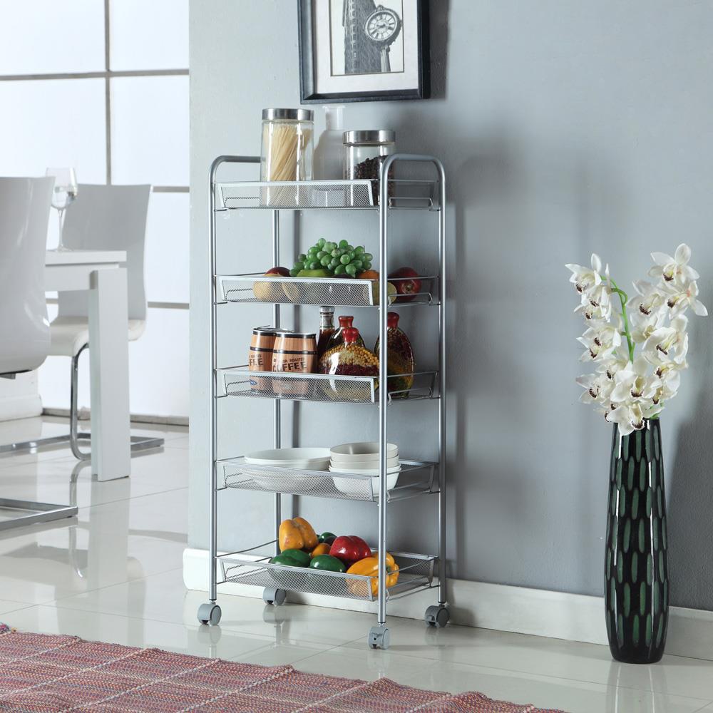 Ktaxon 5 Tier Rack Shelf Shelving W/ Rolling Kitchen Pantry Storage Utility Cart