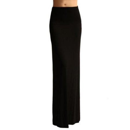EFINNY Women Sexy High Elastic Waist Foldover Long Jersey Maxi (Wear Maxi Skirt)