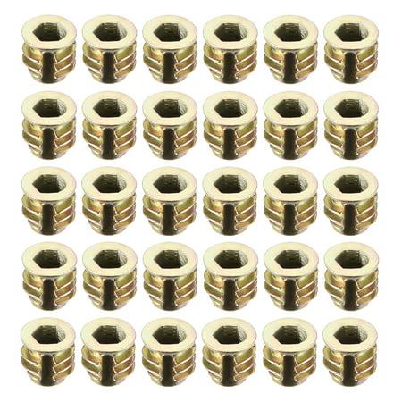 Threaded Insert Nuts Zinc Alloy Hex Socket M4 Internal Threads 8mm Length 30pcs