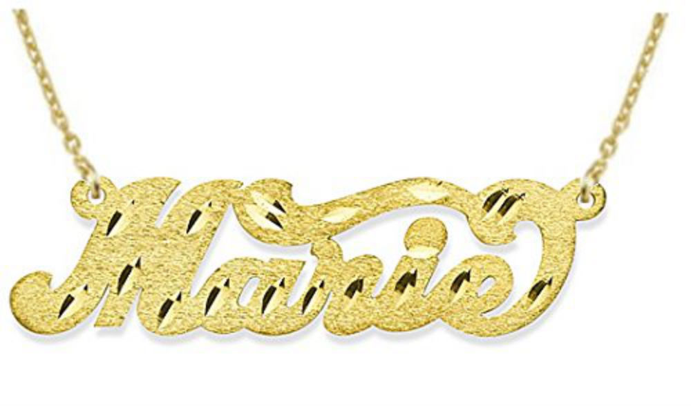 Personalized Satin Finish Diamond Cut Nameplate Necklace Sterling Silver or Yellow Gold Plated Silver by Elie Int.
