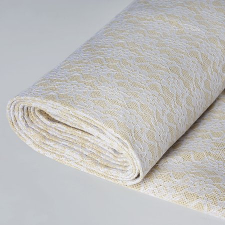 BalsaCircle 54 inch x 4 yards Natural Burlap with White Lace Fabric Roll - Sewing Crafts Draping Decorations Supplies ()