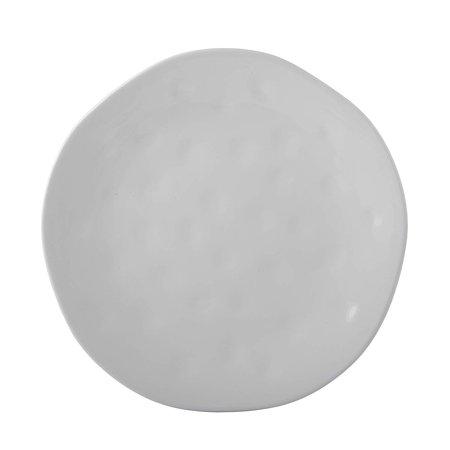 Melange Stoneware 6-Piece Dinner Set   Irregular Shape Collection   Service for 6  Microwave, Dishwasher & Oven Safe   Dinner Plate, White (6 Each) ()
