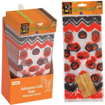 Halloween Patterned Cello Treat Bag with Assorted Patterns - CASE OF 18