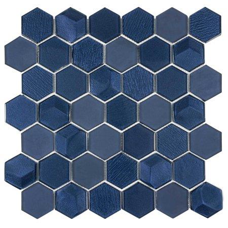MTO0338 Modern Hexagon Blue Bold Glossy Metallic Glass Mosaic Tile