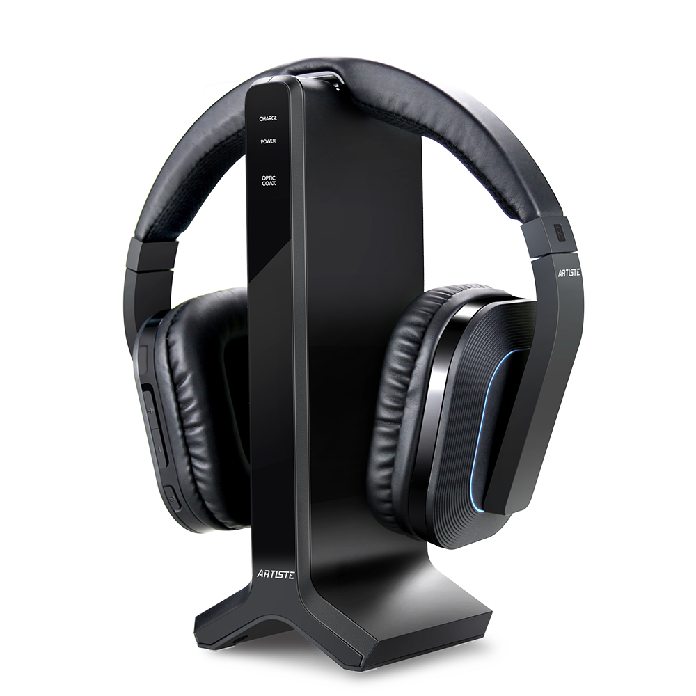 Wireless TV Headphone with 2.4GHz Digital Transmitter Charging Dock Multiple Headphones Connected Cordless Headphone Headset for Computer TV Radio by ARTISTE - image 5 of 5
