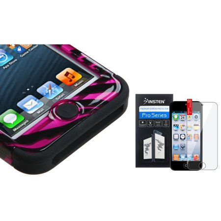 Insten Zebra Hot Pink/Black 2D/Black TUFF Hybrid Hard Case For iPod touch 6 6th 5 5th +Protector
