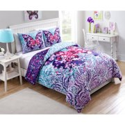 VCNY Home Multi-Color Fly Free Butterfly Printed 2/3-Piece Reversible Kids Bedding Comforter Set, Shams Included