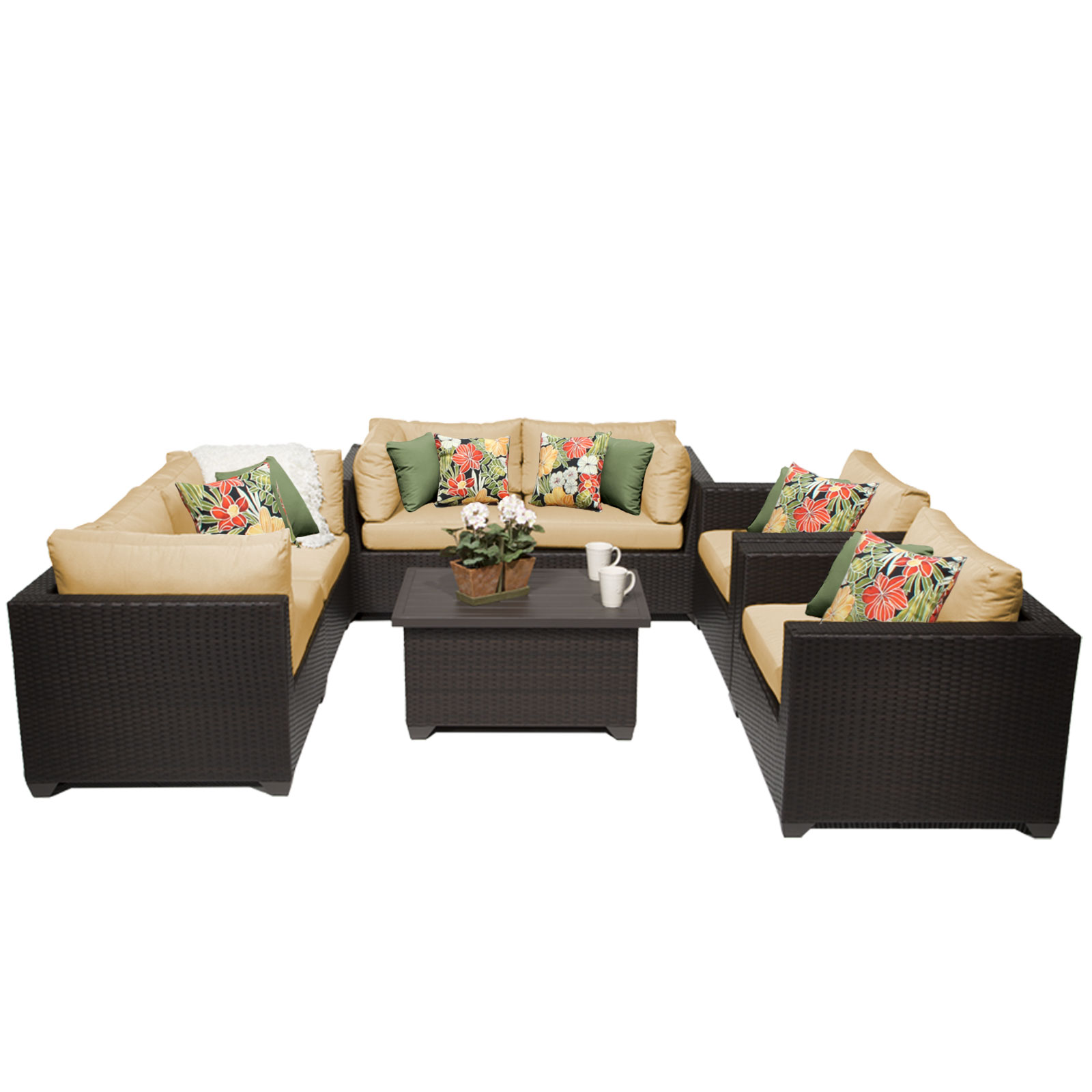 Premier 7 Piece Outdoor Wicker Patio Furniture Set 07c