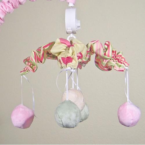Brandee Danielle Minky Bubbles Pink Musical Mobile