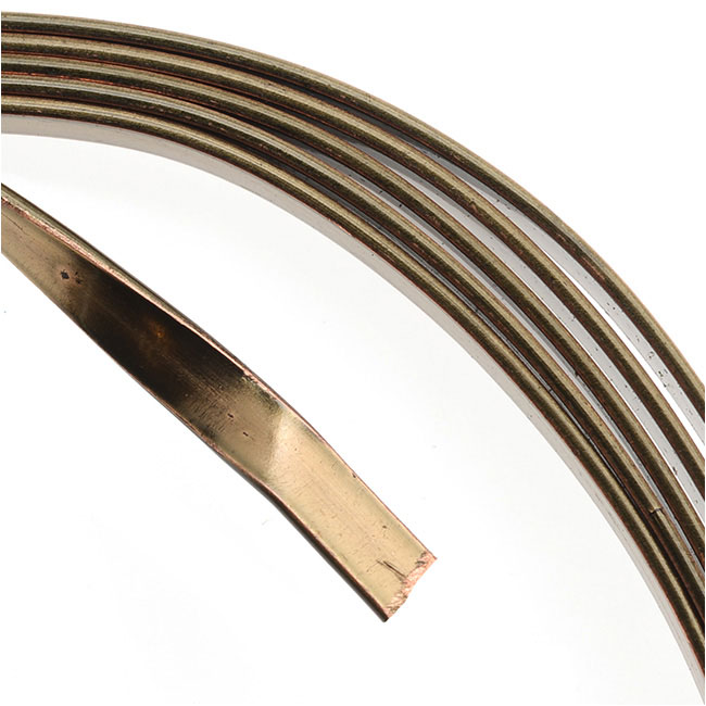 Artistic Wire, Flat Craft Wire 3mm 21 Gauge Thick, 3 Foot Coil, Antiqued Brass