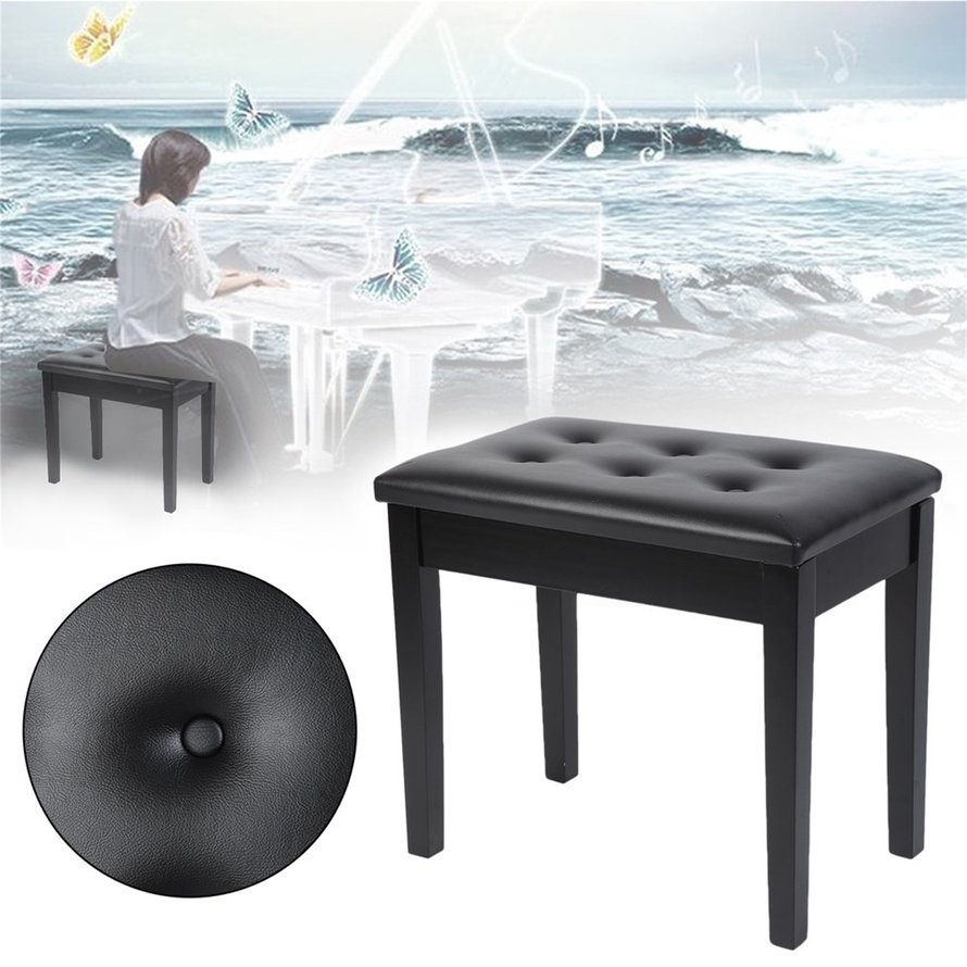 2018 New Upgraded Comfortable Soft Padded Wooden Artist Piano Bench Stool Folding Lid Chair With Sheet Music Books Storage Black(Black)