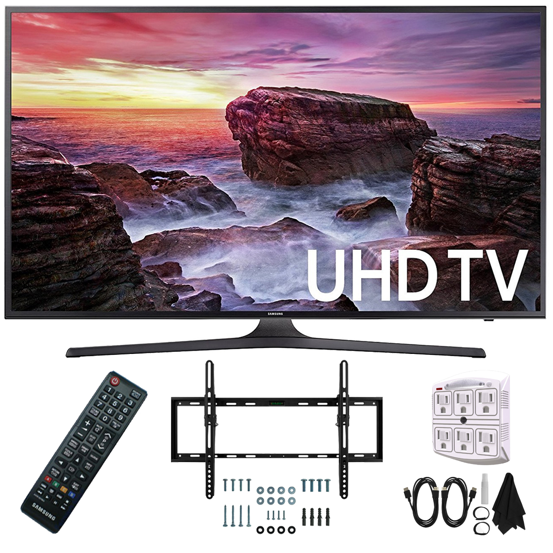 "Samsung UN55MU6290FXZA Flat 54.6"" LED 4K UHD 6 Series Smart TV (2017) with Flat and Tilt Wall Mount Bundle, Two (2) 6 Foot HDMI Cables, and a Six Outlet Surge Adapter"