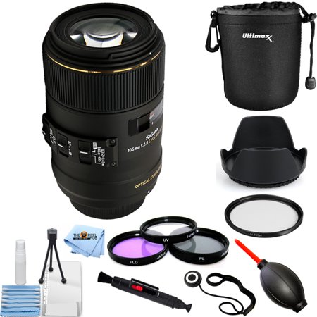 Sigma 105mm f/2.8 EX DG OS HSM Macro Lens for Canon EOS 258101 PRO BUNDLE with Lens Pouch, Tulip Hood Lens, Filter Kit, UV Filter + (Sigma 105 Macro Vs Canon 100 Macro)
