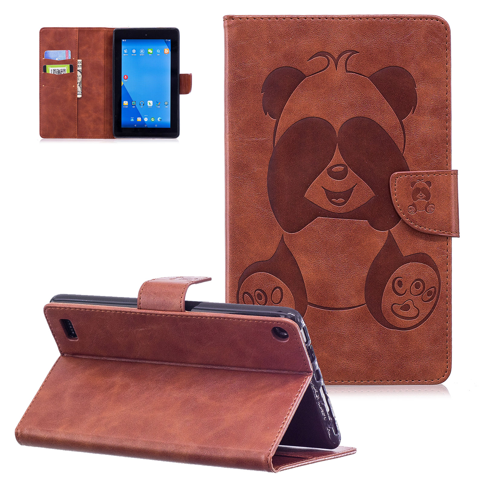 Fire 7 2017 Case, Fire 7 2015 Case,Goodest [Panda Series] Slim PU Leather Magnetic Flip Stand Case Cover for Amazon Fire 7 inch Tablet (7th generation,2017 Release/ 5th generation,2015 Release),Brown