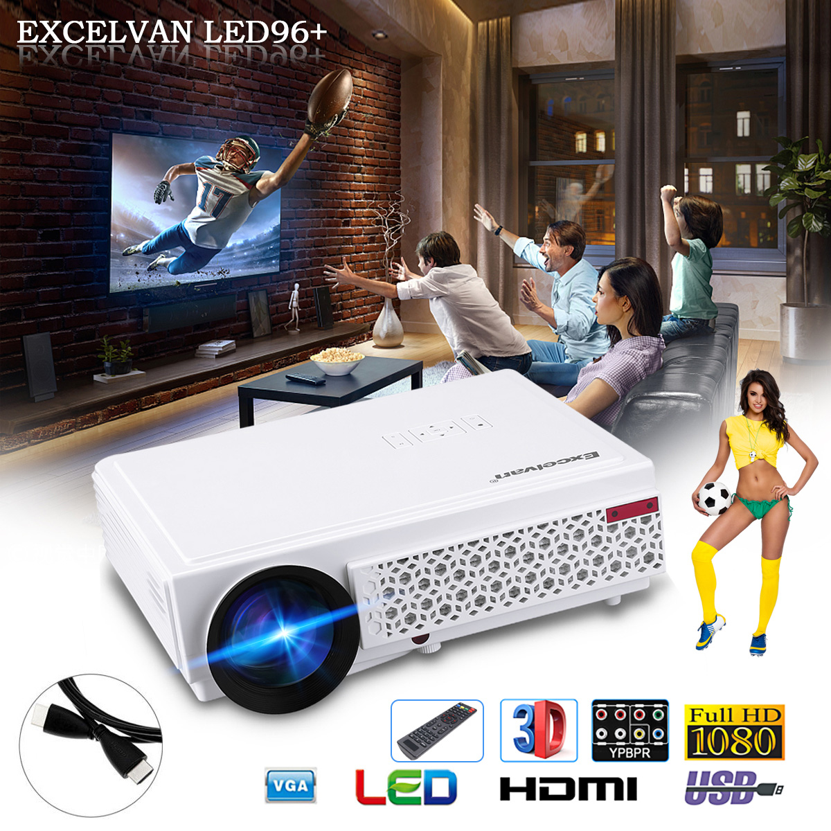 Excelvan 96+ Native 1280*800 support 1080p Led Projector White US PLUG