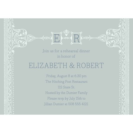 Formal Initials Party Invite Standard Rehearsal Dinner](Wedding Invites Cheap)
